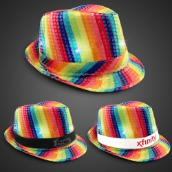 Rainbow Sequin LED Fedora (Imprintable Bands Available)