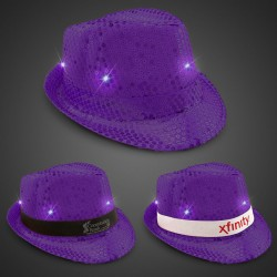 Purple Sequin LED Fedora Hats (Imprintable Bands Available)