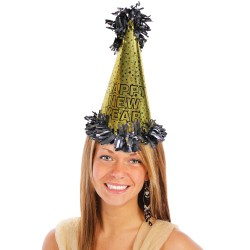 Happy New Year Metallic Gold Cone Hat