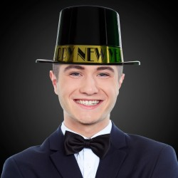 Happy New Year Black & Gold Top Hat
