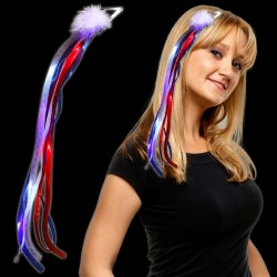 Red-White-Blue Light Up Diva Ribbon Fascinator