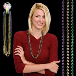 33 Inch, 7mm Mardi Gras Bead Necklaces