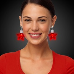 Red Star LED Clip On Earrings