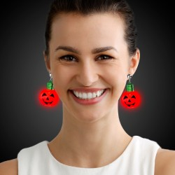 Jumbo Pumpkin LED Clip On Earrings