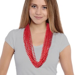 Solid Red Mardi Gras Beads