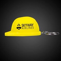 Yellow Plastic Construction Hat Bottle Opener Key Chains