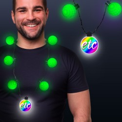 Green LED Medallion Ball Necklace