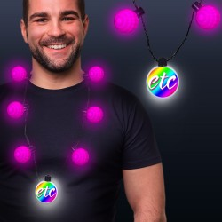Pink LED Medallion Ball Necklace