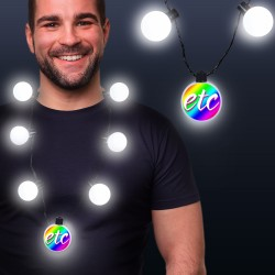 White LED Medallion Ball Necklace