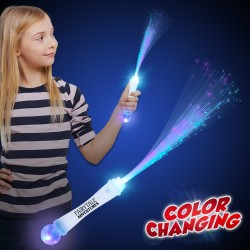 White Fiber Optic Wand with Strobe - 15 Inch