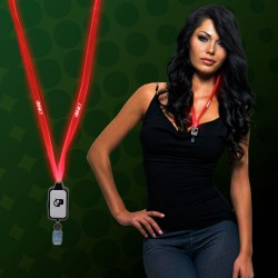Light Up Red LED Lanyard with Badge Clip