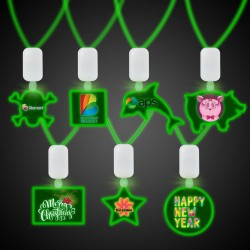 Clear Plastic Necklace with Plastic Medallion and Green LEDS
