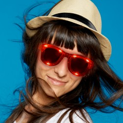Red LED Classic Retro Sunglasses with Sound Option