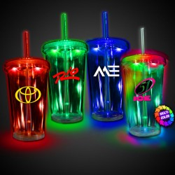 Light Up Travel Cup with CLEAR Lid and Straw