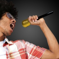 Gold Glitter Microphone