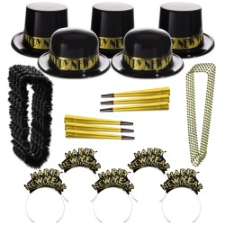Gold  Showboat New Year's Eve Party Kit for 100 People  - 2017