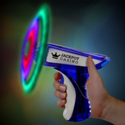 Blue & Silver LED Spinning Toy Gun - 6 Inch